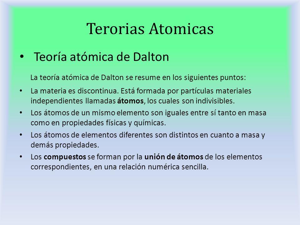 Terorias Atomicas Teoría atómica de Dalton La teoría atómica de Dalton se resume en los siguientes puntos: La materia es discontinua. Está formada por