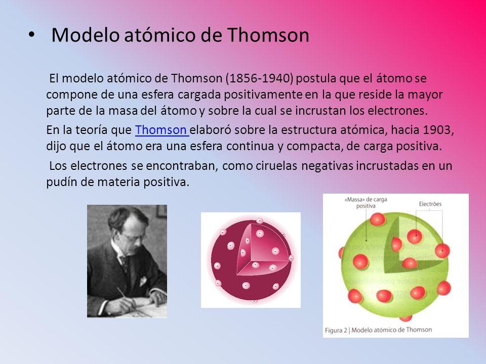 Modelo atómico de Thomson El modelo atómico de Thomson (1856-1940) postula que el átomo se compone de una esfera cargada positivamente en la que resid
