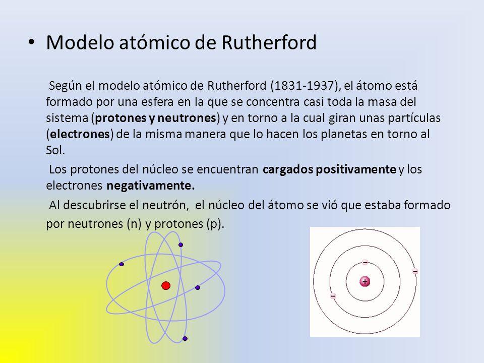 Modelo atómico de Rutherford Según el modelo atómico de Rutherford (1831-1937), el átomo está formado por una esfera en la que se concentra casi toda