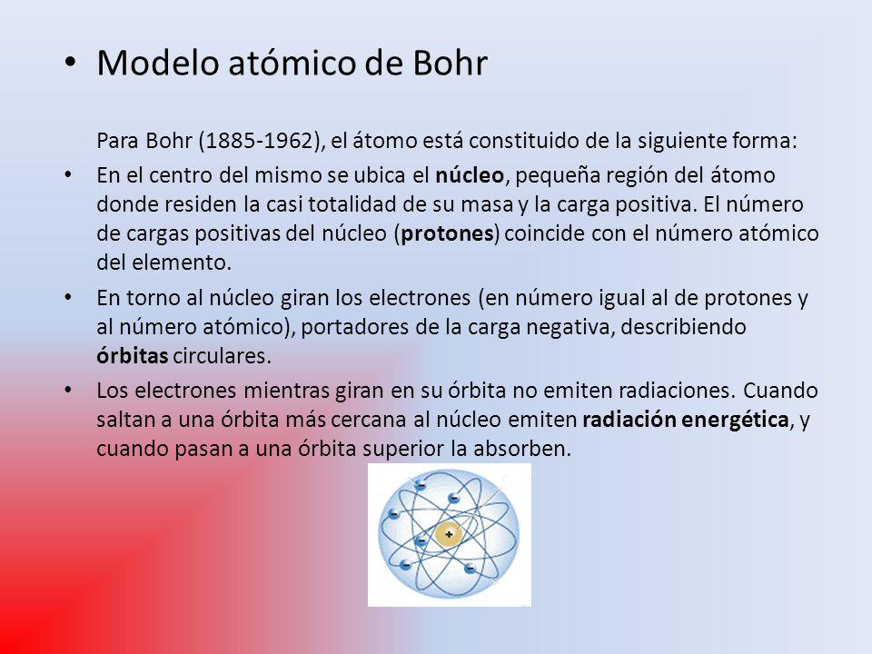 Modelo atómico de Bohr Para Bohr (1885-1962), el átomo está constituido de la siguiente forma: En el centro del mismo se ubica el núcleo, pequeña regi
