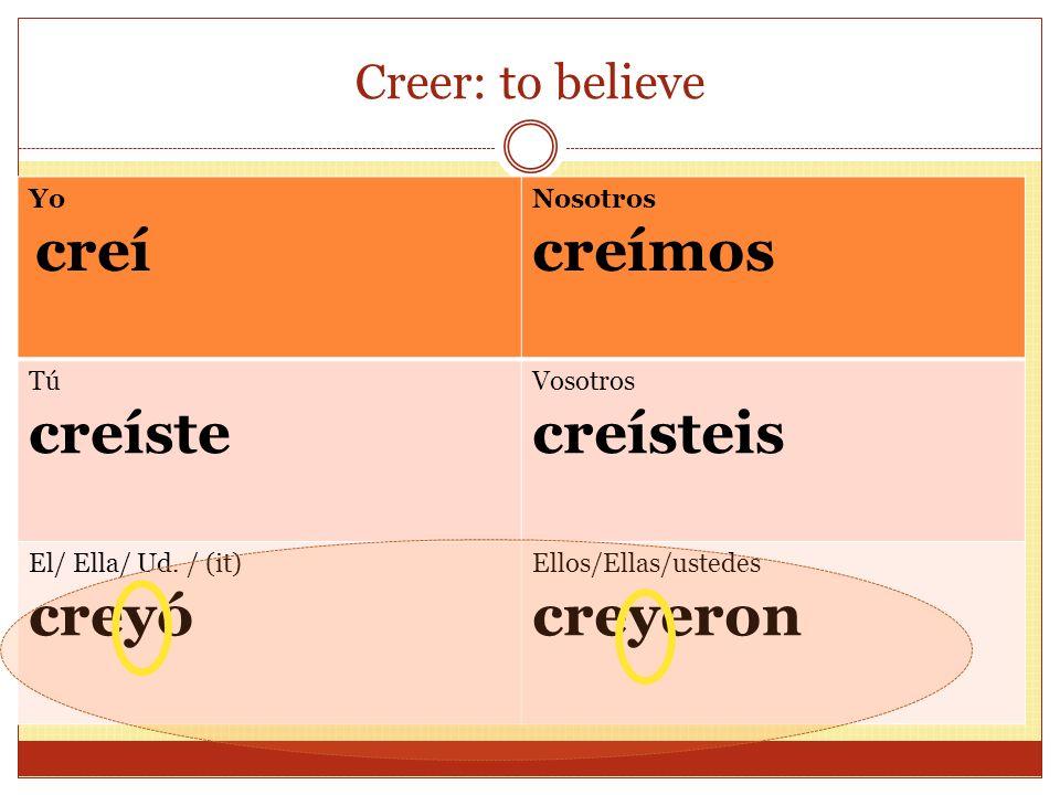 Creer: to believe Yo creí Nosotros creímos Tú creíste Vosotros creísteis El/ Ella/ Ud. / (it) creyó Ellos/Ellas/ustedes creyeron