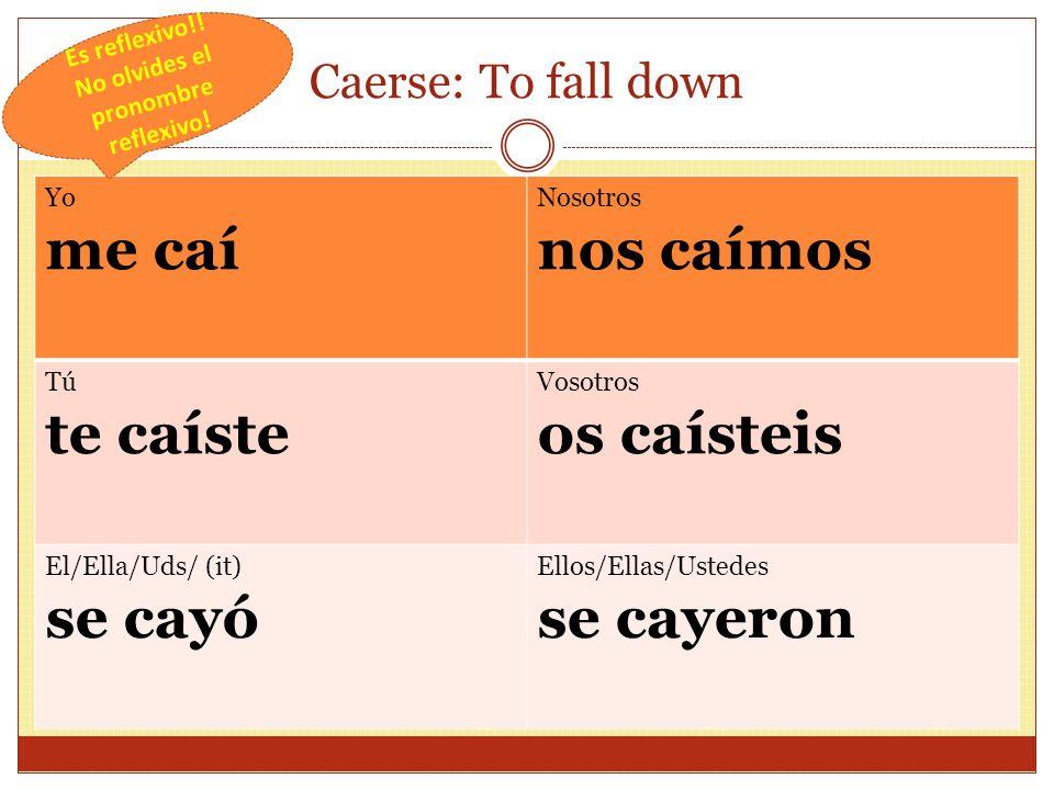 Caerse: To fall down Yo me caí Nosotros nos caímos Tú te caíste Vosotros os caísteis El/Ella/Uds/ (it) se cayó Ellos/Ellas/Ustedes se cayeron Es reflexivo!.