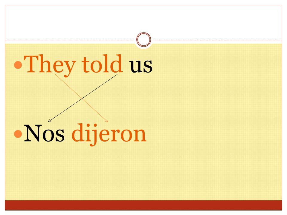 Más… (me, te, le, nos, os, les) She told us nos dijo We told them Les dijimos I told you.