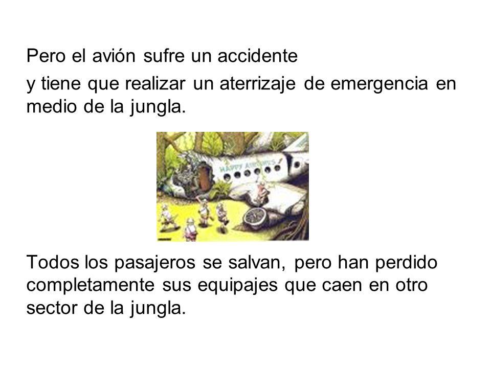 Pero el avión sufre un accidente y tiene que realizar un aterrizaje de emergencia en medio de la jungla.