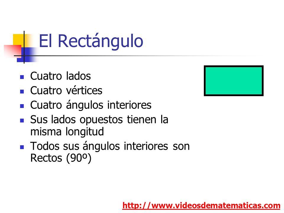 El Rectángulo http://www.videosdematematicas.com Cuatro lados Cuatro vértices Cuatro ángulos interiores Sus lados opuestos tienen la misma longitud To