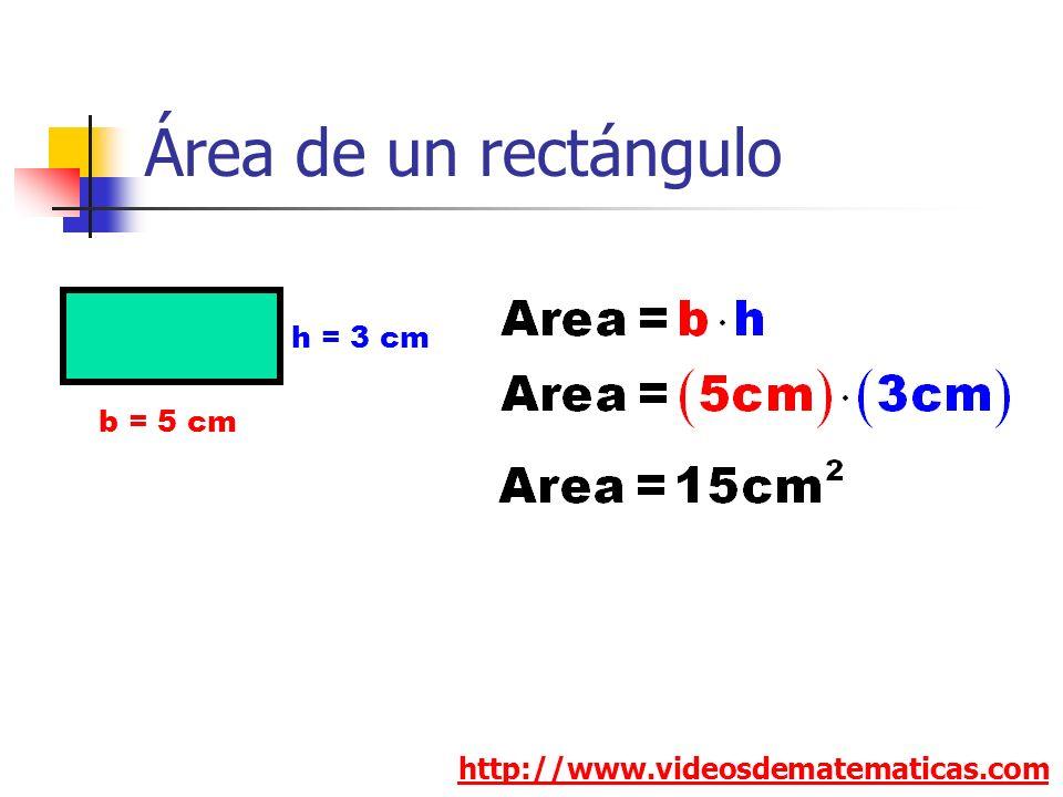 Área de un rectángulo http://www.videosdematematicas.com b = 5 cm h = 3 cm
