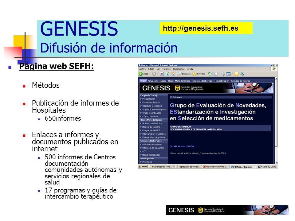 Página web SEFH: Métodos Publicación de informes de Hospitales 650informes Enlaces a informes y documentos publicados en internet 500 informes de Cent