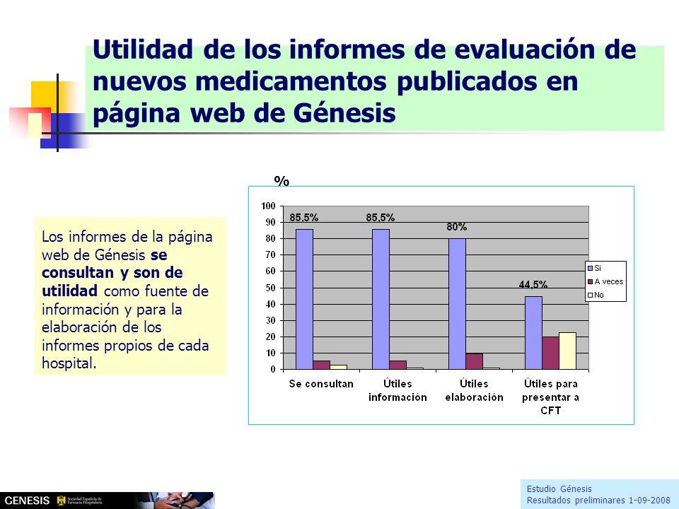 Los informes de la página web de Génesis se consultan y son de utilidad como fuente de información y para la elaboración de los informes propios de cada hospital.