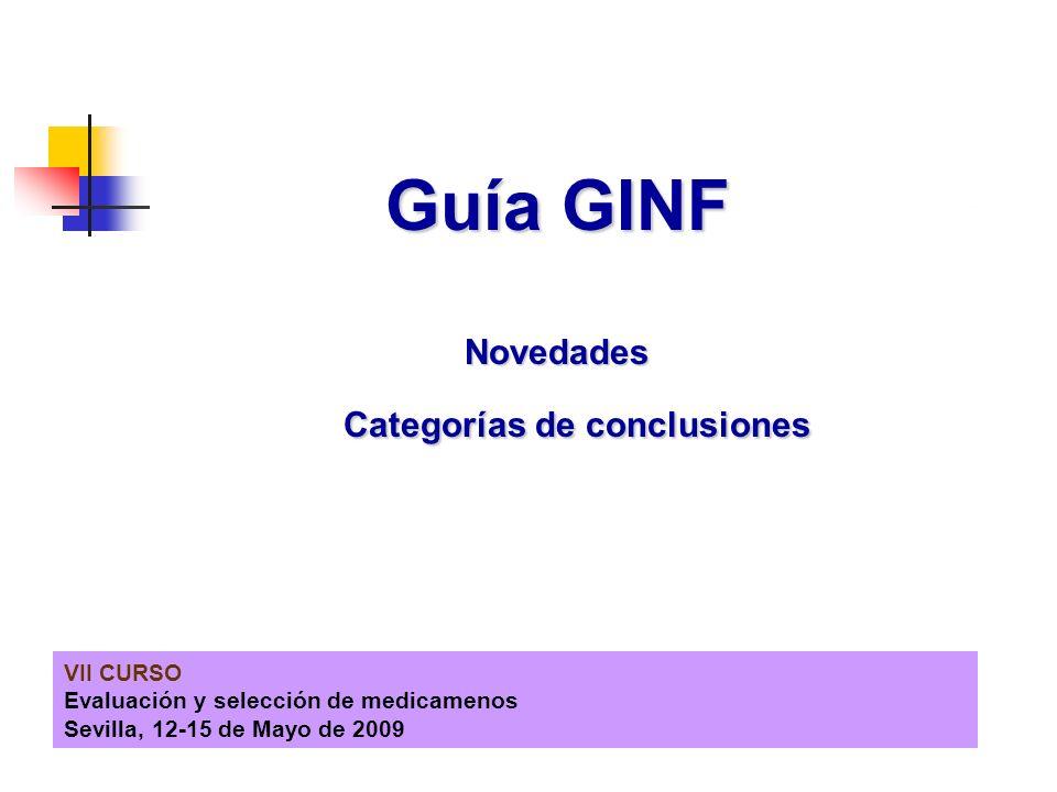 VII CURSO Evaluación y selección de medicamenos Sevilla, 12-15 de Mayo de 2009 Guía GINF Novedades Categorías de conclusiones