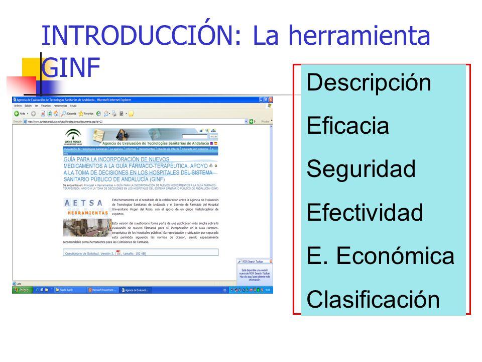INTRODUCCIÓN: La herramienta GINF Descripción Eficacia Seguridad Efectividad E.
