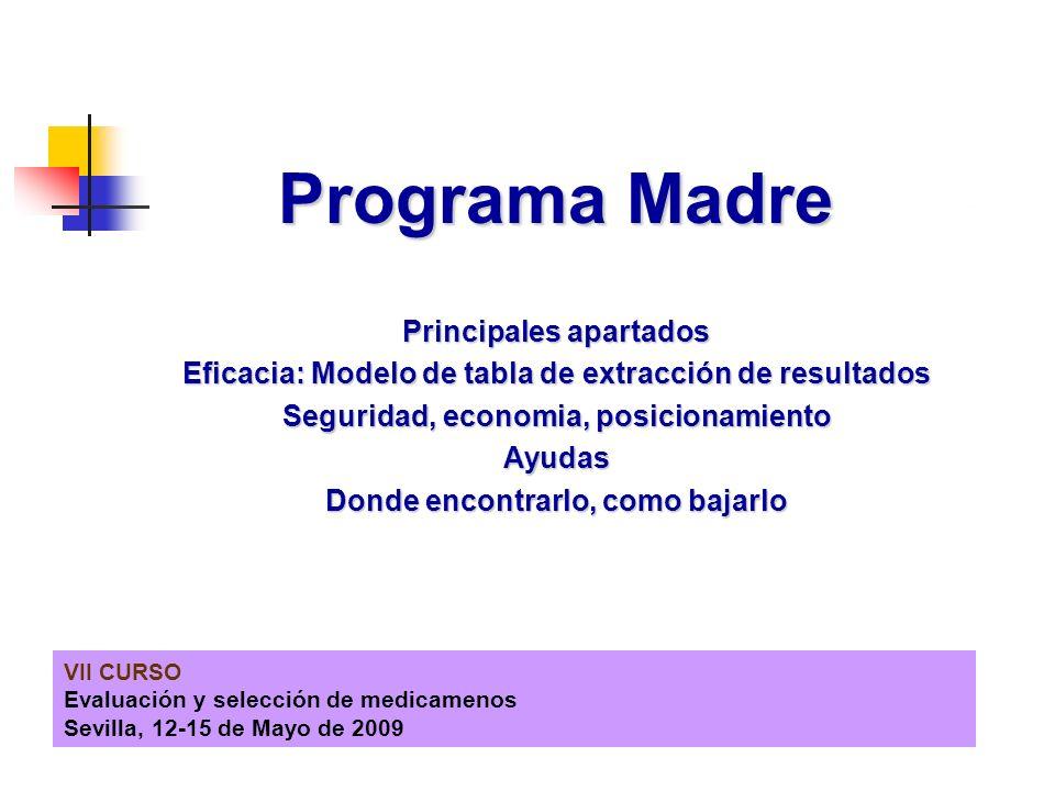 VII CURSO Evaluación y selección de medicamenos Sevilla, 12-15 de Mayo de 2009 Programa Madre Principales apartados Eficacia: Modelo de tabla de extra