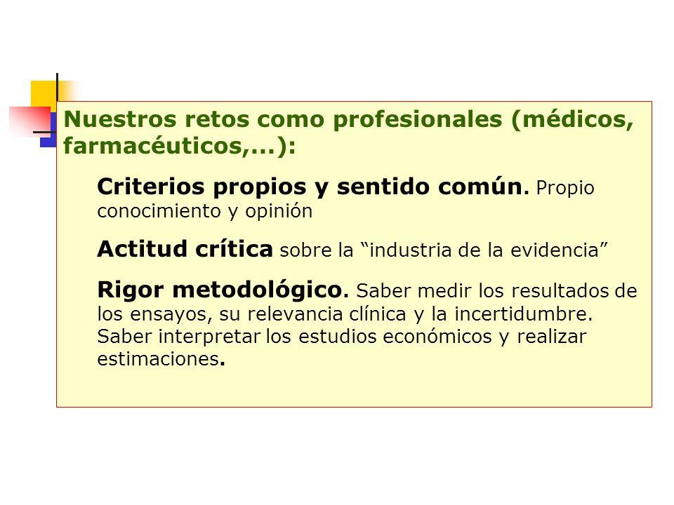 Nuestros retos como profesionales (médicos, farmacéuticos,...): Criterios propios y sentido común.