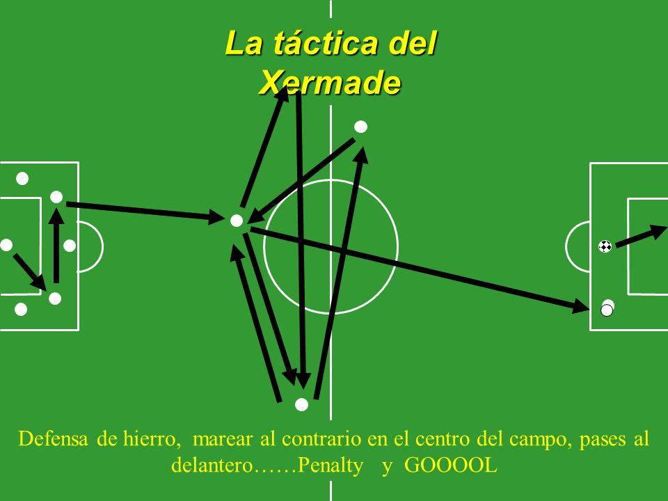 La táctica del Xermade Defensa de hierro, marear al contrario en el centro del campo, pases al delantero……Penalty y GOOOOL