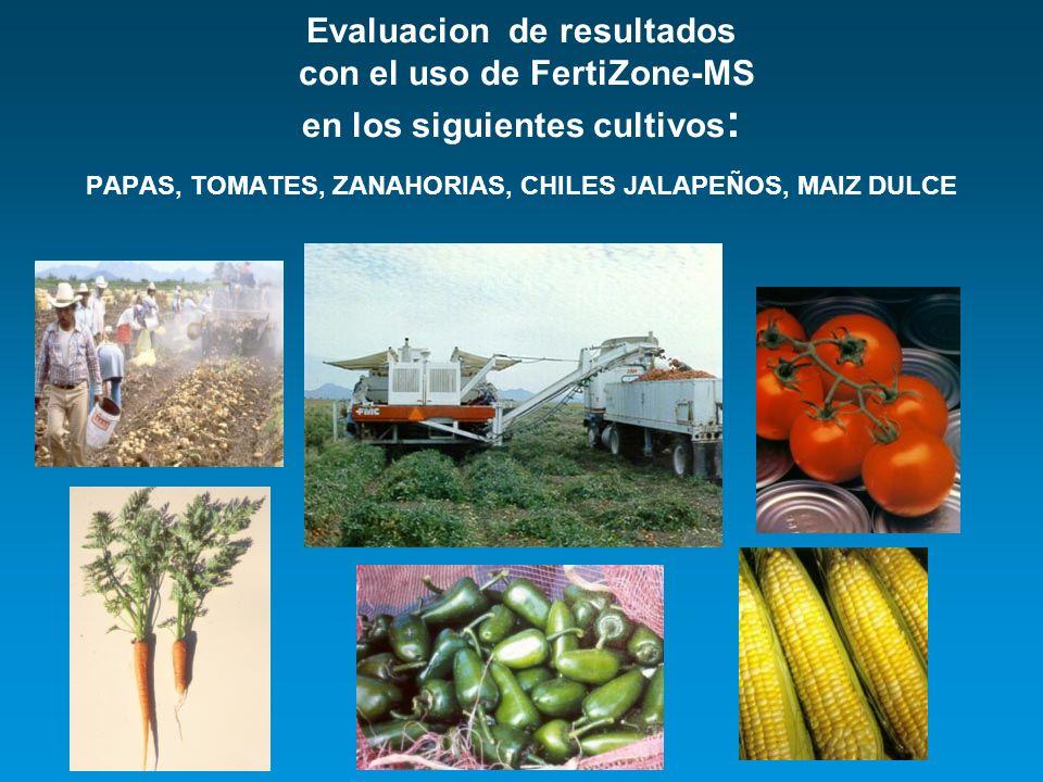 Evaluacion de resultados con el uso de FertiZone-MS en los siguientes cultivos : PAPAS, TOMATES, ZANAHORIAS, CHILES JALAPEÑOS, MAIZ DULCE