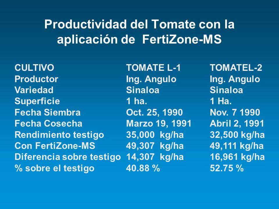Productividad del Tomate con la aplicación de FertiZone-MS CULTIVOTOMATE L-1 TOMATEL-2 ProductorIng. AnguloIng. Angulo VariedadSinaloaSinaloa Superfic