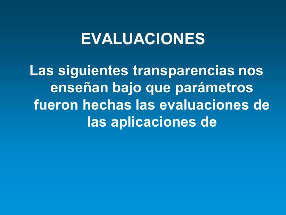 EVALUACIONES Las siguientes transparencias nos enseñan bajo que parámetros fueron hechas las evaluaciones de las aplicaciones de