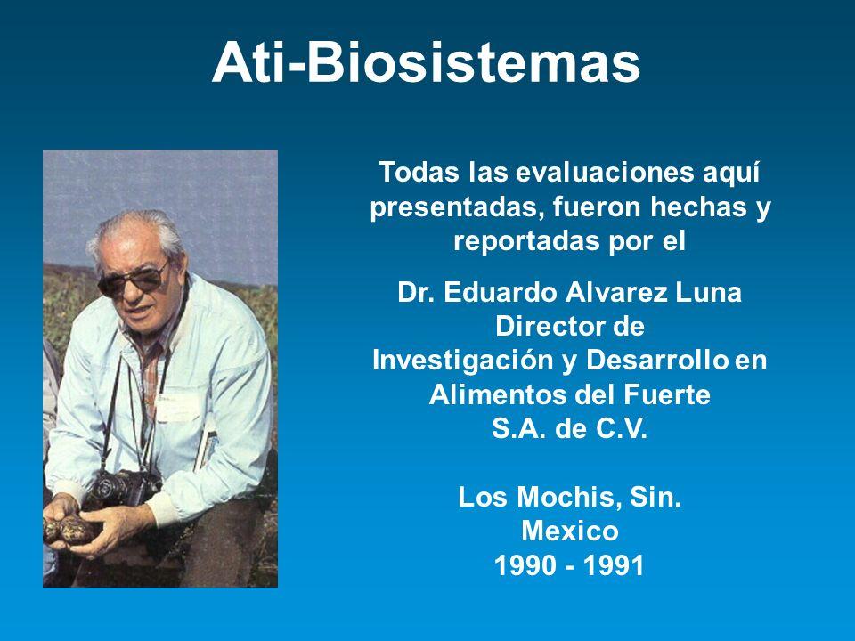 Ati-Biosistemas Todas las evaluaciones aquí presentadas, fueron hechas y reportadas por el Dr. Eduardo Alvarez Luna Director de Investigación y Desarr