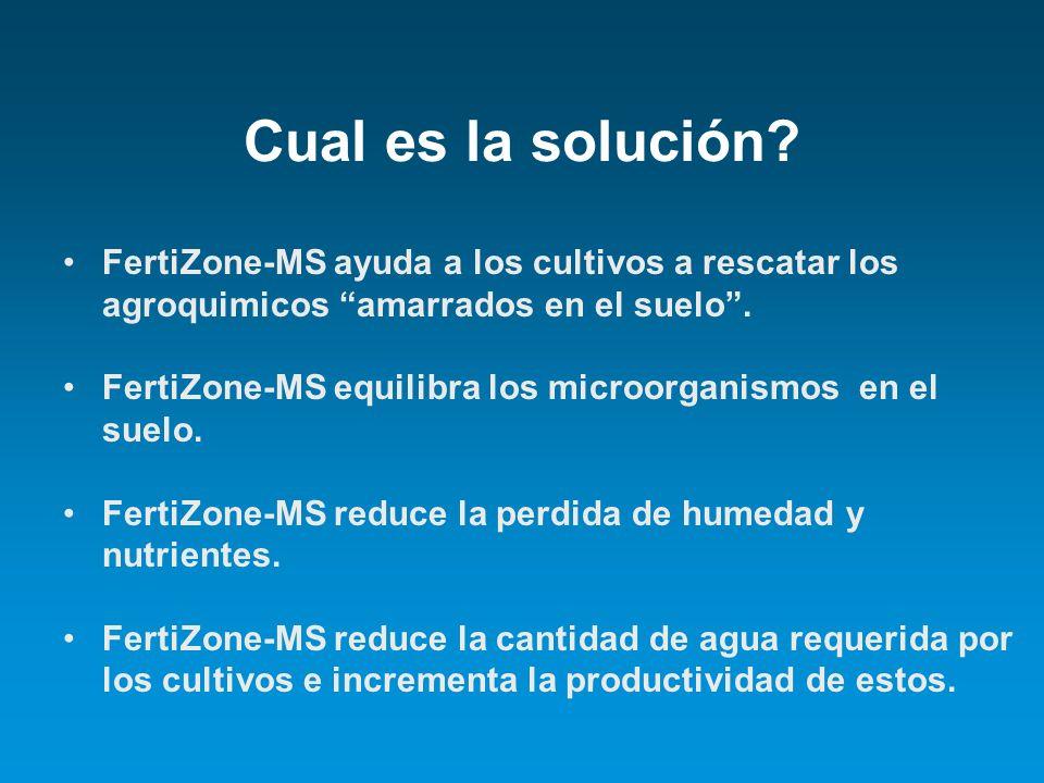 Cual es la solución? FertiZone-MS ayuda a los cultivos a rescatar los agroquimicos amarrados en el suelo. FertiZone-MS equilibra los microorganismos e
