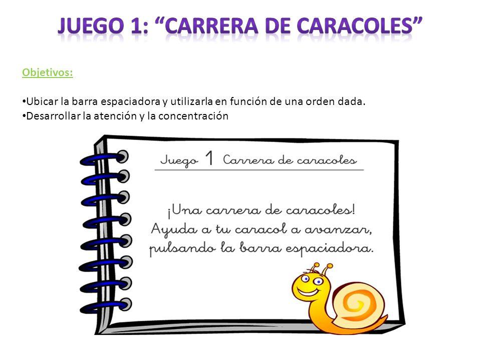 Objetivos: Ubicar la barra espaciadora y utilizarla en función de una orden dada. Desarrollar la atención y la concentración