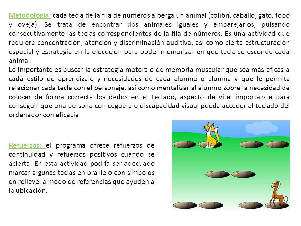 Metodología: cada tecla de la fila de números alberga un animal (colibrí, caballo, gato, topo y oveja). Se trata de encontrar dos animales iguales y e