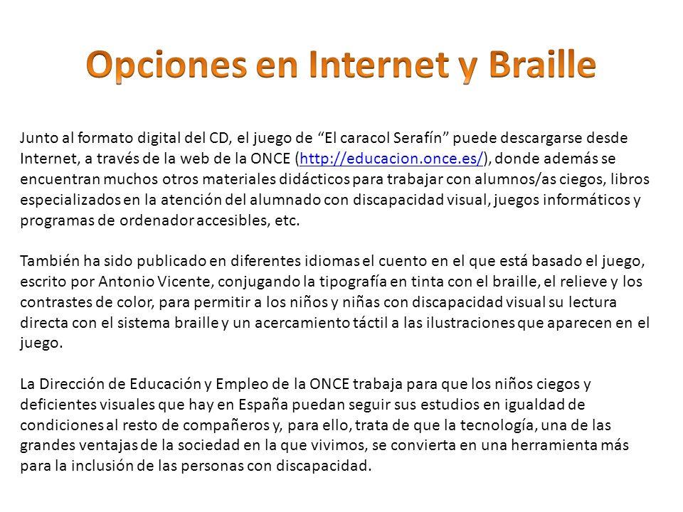Junto al formato digital del CD, el juego de El caracol Serafín puede descargarse desde Internet, a través de la web de la ONCE (http://educacion.once