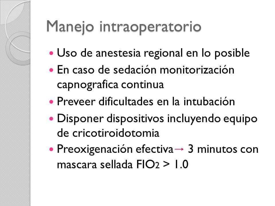Manejo intraoperatorio Uso de anestesia regional en lo posible En caso de sedación monitorización capnografica continua Preveer dificultades en la int