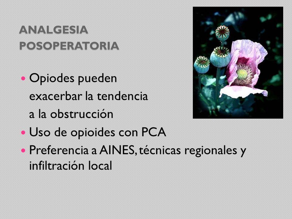 ANALGESIA POSOPERATORIA Opiodes pueden exacerbar la tendencia a la obstrucción Uso de opioides con PCA Preferencia a AINES, técnicas regionales y infi