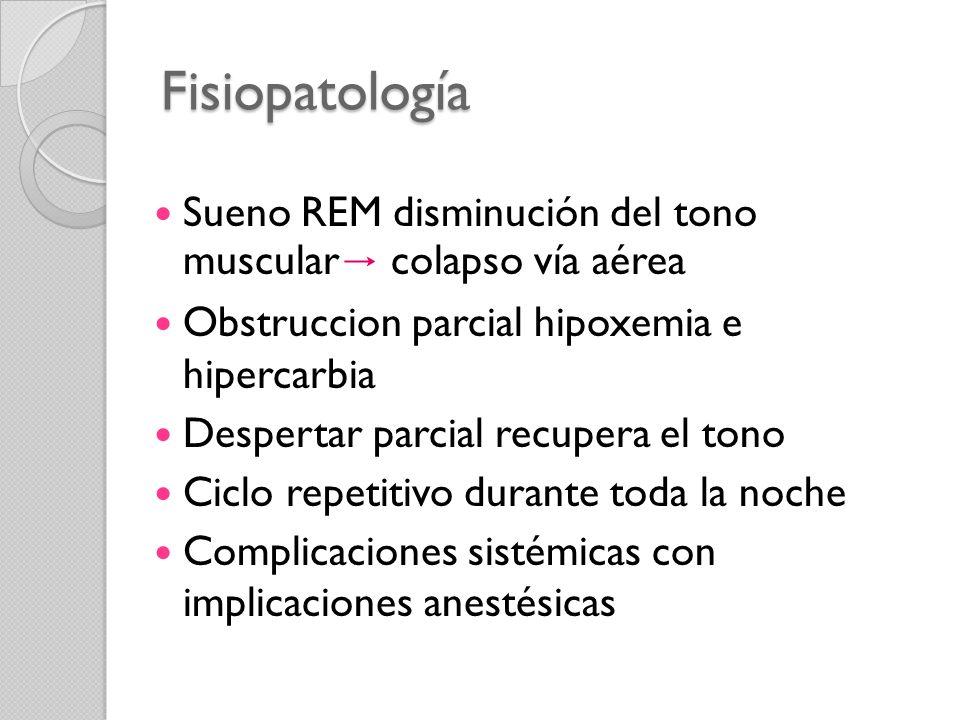 Fisiopatología Sueno REM disminución del tono muscular colapso vía aérea Obstruccion parcial hipoxemia e hipercarbia Despertar parcial recupera el ton