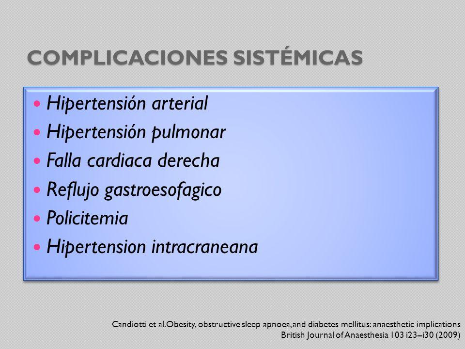 COMPLICACIONES SISTÉMICAS Hipertensión arterial Hipertensión pulmonar Falla cardiaca derecha Reflujo gastroesofagico Policitemia Hipertension intracra