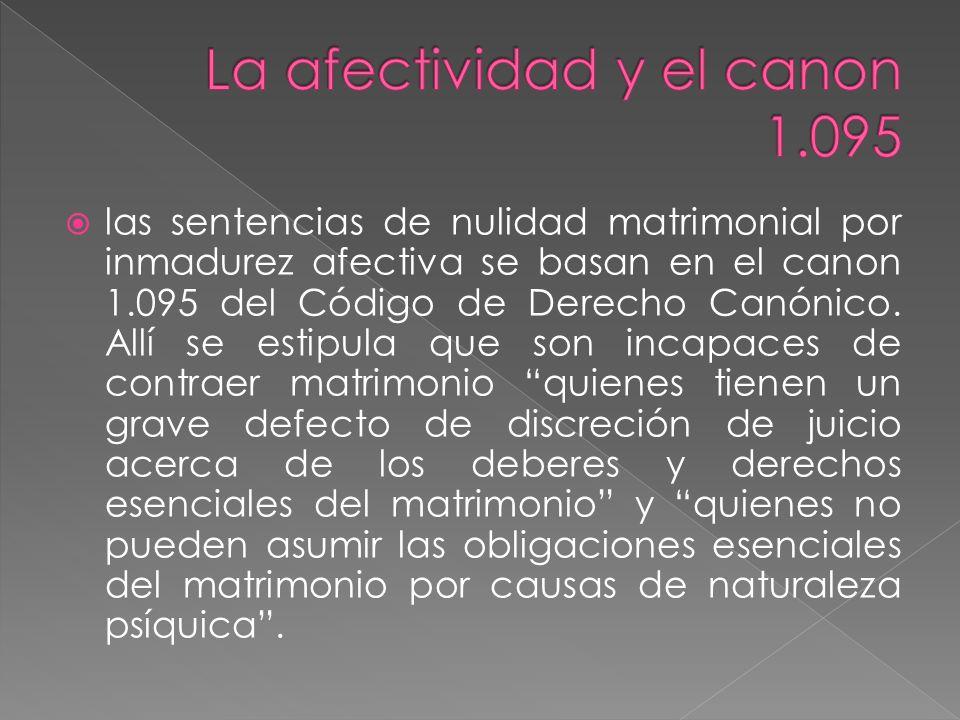 5.Incidencia de la inmadurez afectiva en la nulidad del matrimonio Incide en dos direcciones.1.