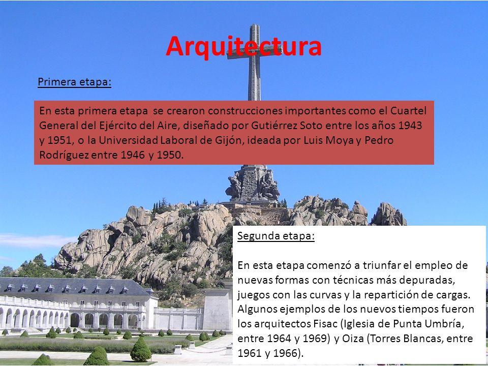 Arquitectura Primera etapa: El primero y más importante de los planes, proyecto personal del Dictador, fue el Valle de los Caídos, obra faraónica dise