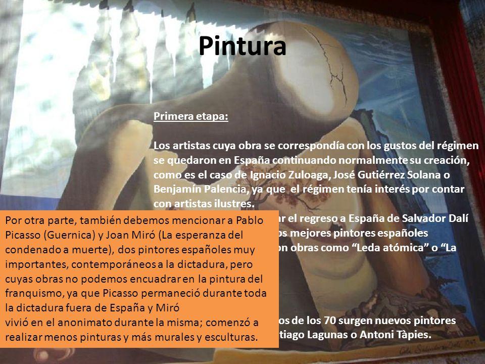 Pintura Primera etapa: Los artistas cuya obra se correspondía con los gustos del régimen se quedaron en España continuando normalmente su creación, co