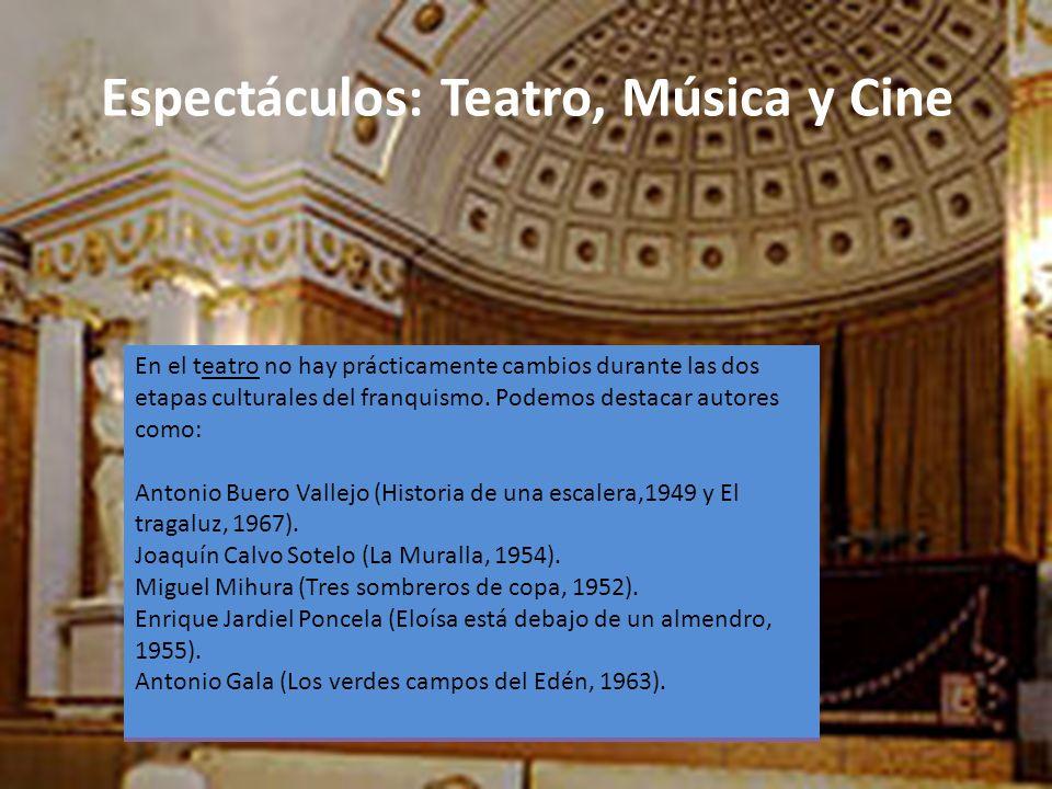 Espectáculos: Teatro, Música y Cine El cine de la posguerra estuvo dominado por un cine imperial y nacionalcatólico. Algunos ejemplos de estas películ