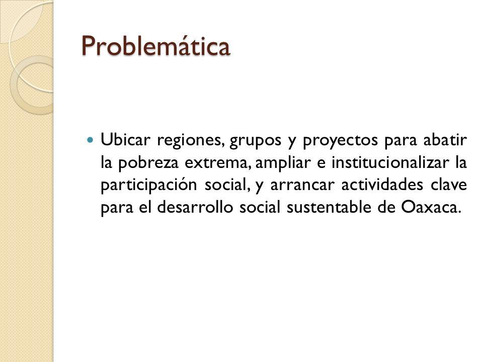Problemática Ubicar regiones, grupos y proyectos para abatir la pobreza extrema, ampliar e institucionalizar la participación social, y arrancar actividades clave para el desarrollo social sustentable de Oaxaca.