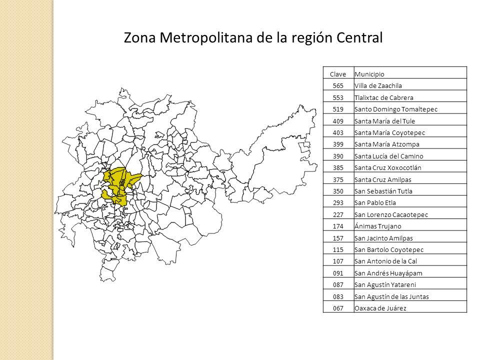 Zona Metropolitana de la región Central ClaveMunicipio 565Villa de Zaachila 553Tlalixtac de Cabrera 519Santo Domingo Tomaltepec 409Santa María del Tul