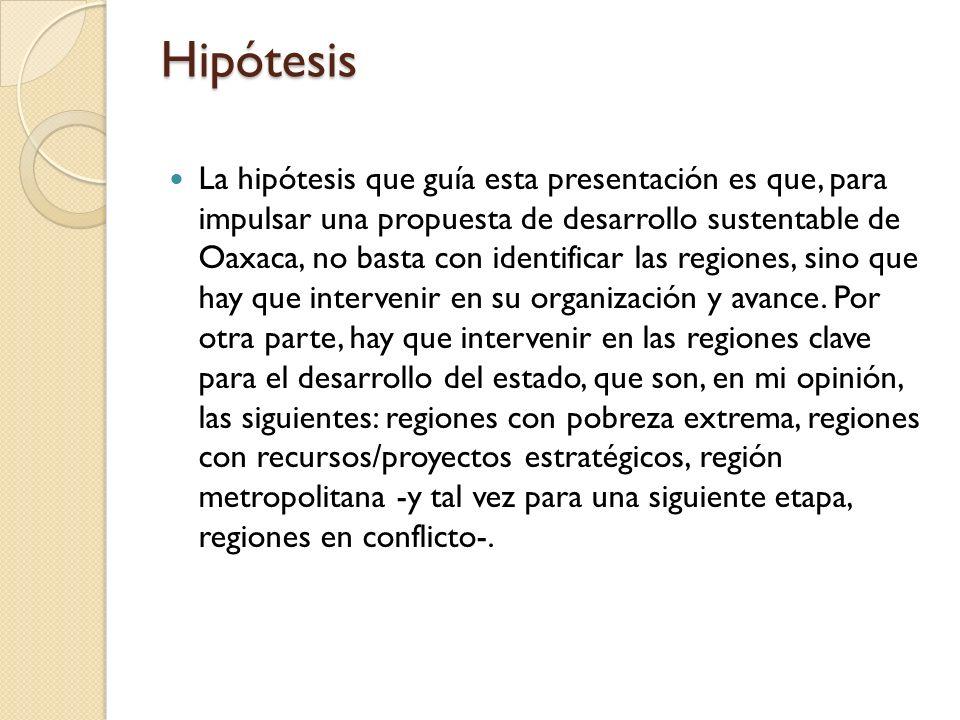 Hipótesis La hipótesis que guía esta presentación es que, para impulsar una propuesta de desarrollo sustentable de Oaxaca, no basta con identificar la