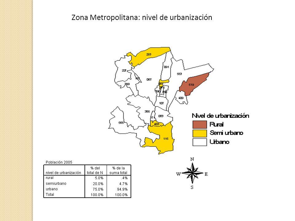 Zona Metropolitana: nivel de urbanización