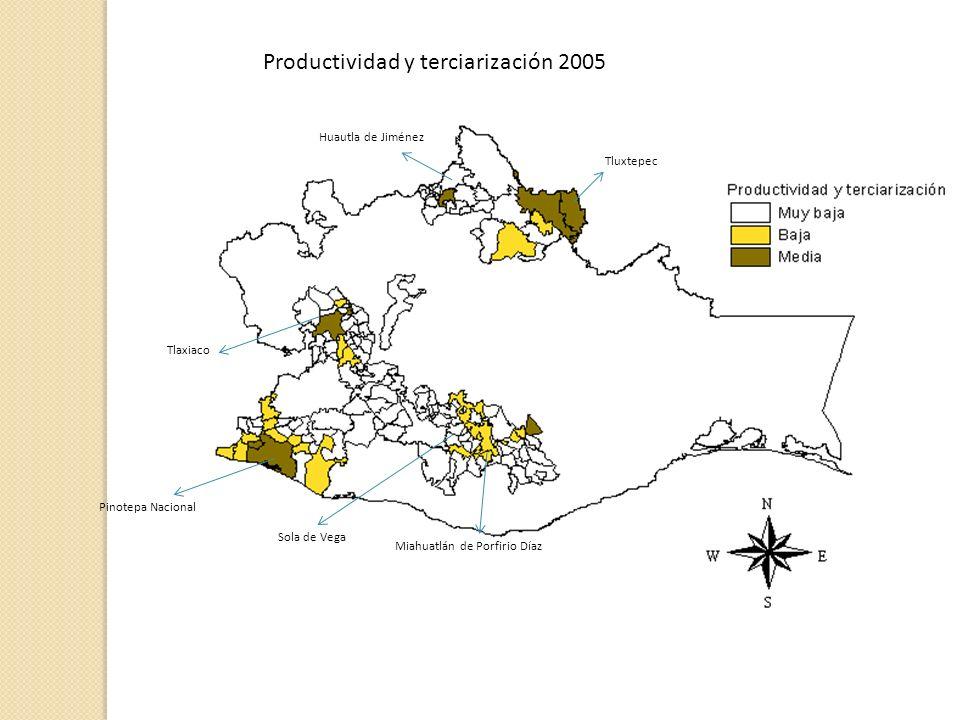 Productividad y terciarización 2005 Sola de Vega Miahuatlán de Porfirio Díaz Huautla de Jiménez Pinotepa Nacional Tlaxiaco Tluxtepec