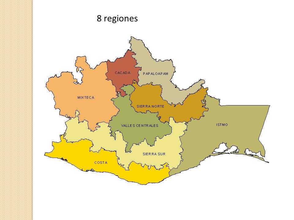4 regiones Ventajas: Equilibrio demográfico Interacción rural-urbana Sinergia para el desarrollo Mejor visión de problemas y objetivos para el desarrollo Mayor capacidad para eficiencia y eficacia administrativa