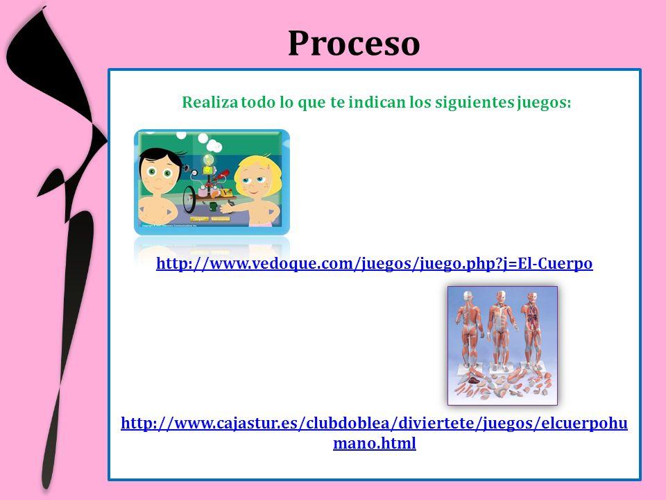 Proceso Realiza todo lo que te indican los siguientes juegos: http://www.vedoque.com/juegos/juego.php?j=El-Cuerpo http://www.cajastur.es/clubdoblea/di