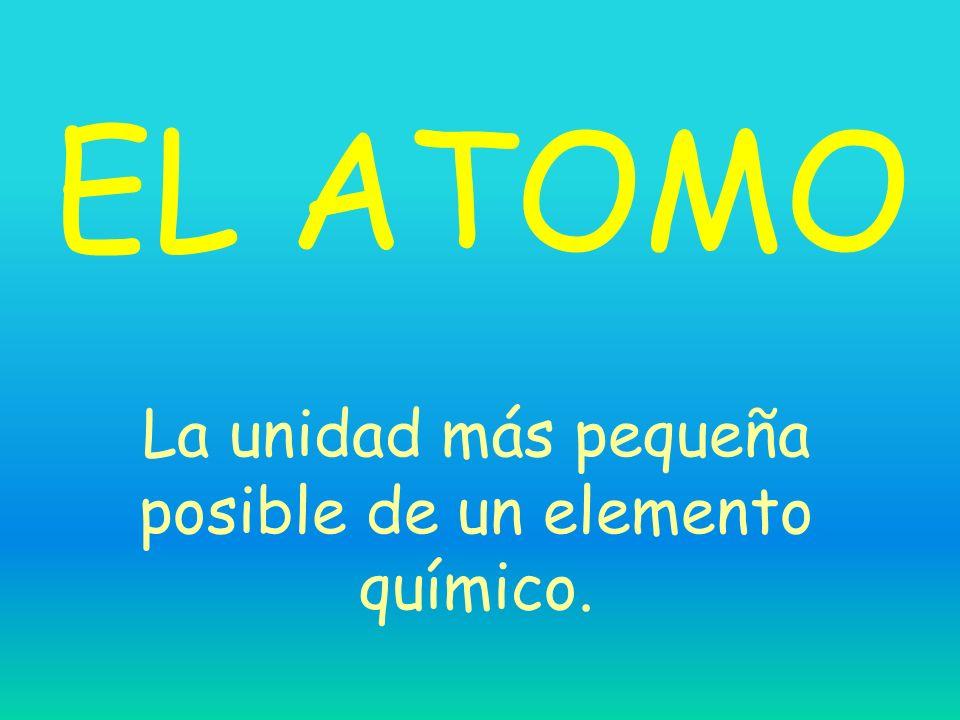 EL ATOMO La unidad más pequeña posible de un elemento químico.