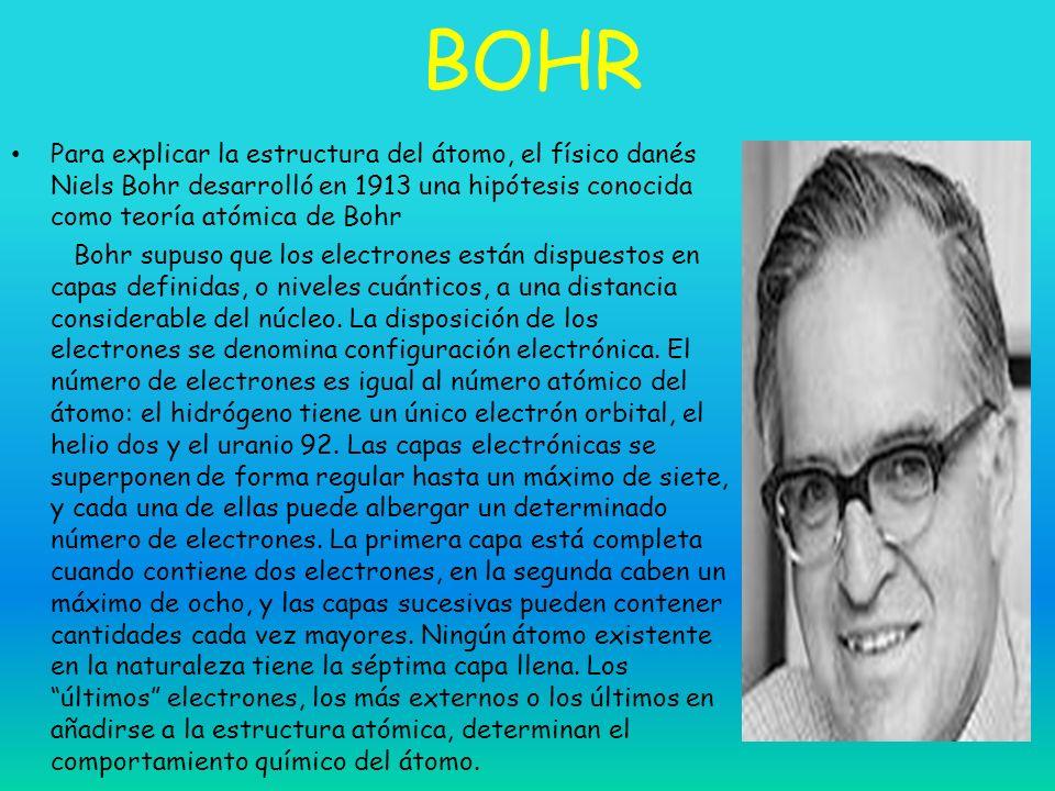 BOHR Para explicar la estructura del átomo, el físico danés Niels Bohr desarrolló en 1913 una hipótesis conocida como teoría atómica de Bohr Bohr supu