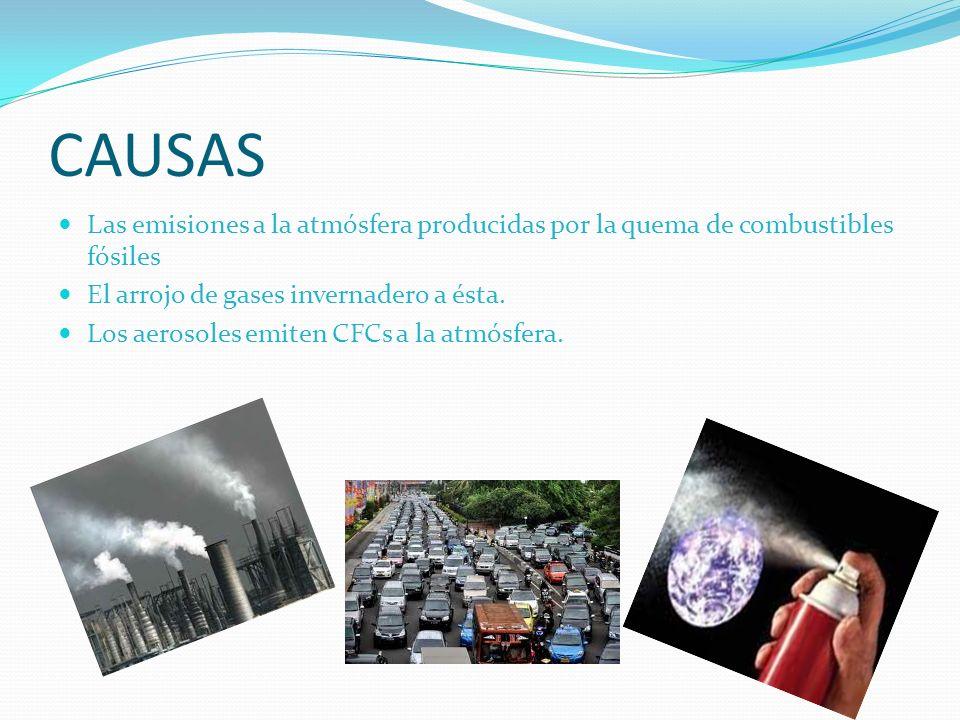 CAUSAS Las emisiones a la atmósfera producidas por la quema de combustibles fósiles El arrojo de gases invernadero a ésta. Los aerosoles emiten CFCs a