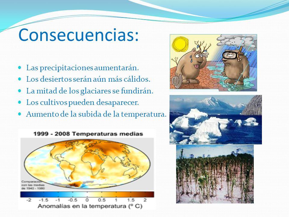 Consecuencias: Las precipitaciones aumentarán. Los desiertos serán aún más cálidos. La mitad de los glaciares se fundirán. Los cultivos pueden desapar
