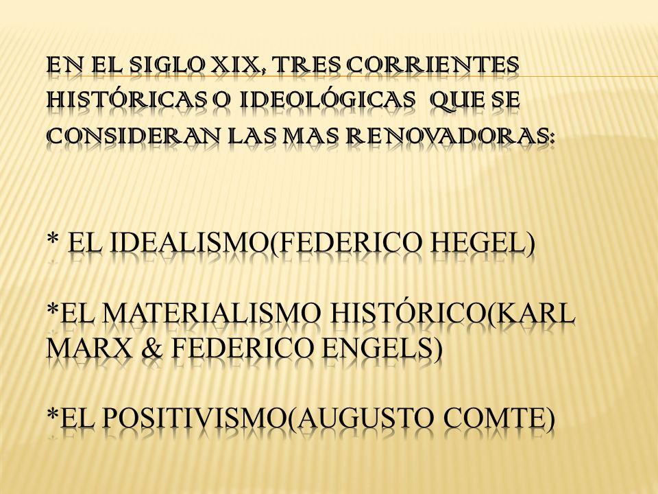 EL IDEALISMO Georg Friedrich Hegel (1770-1831)