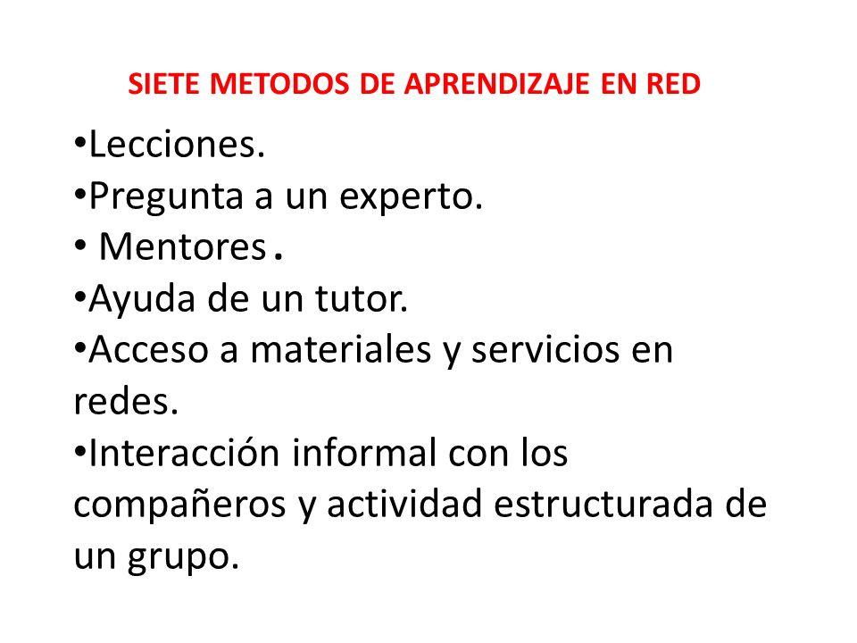 SIETE METODOS DE APRENDIZAJE EN RED Lecciones. Pregunta a un experto. Mentores. Ayuda de un tutor. Acceso a materiales y servicios en redes. Interacci