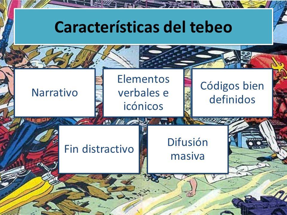 Características del tebeo Narrativo Elementos verbales e icónicos Códigos bien definidos Fin distractivo Difusión masiva