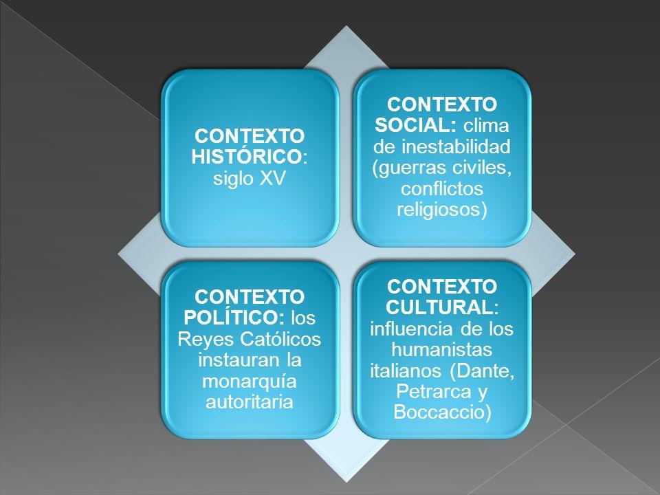 CONTEXTO HISTÓRICO: siglo XV CONTEXTO SOCIAL: clima de inestabilidad (guerras civiles, conflictos religiosos) CONTEXTO POLÍTICO: los Reyes Católicos i