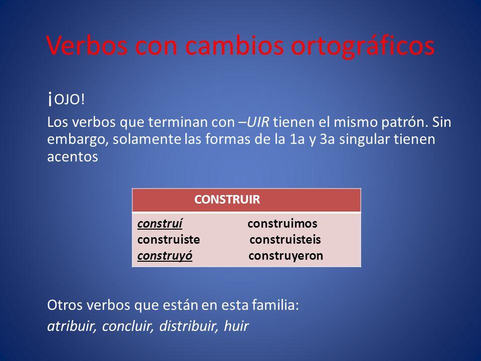 Verbos con cambios ortográficos ¡ OJO. Los verbos que terminan con –UIR tienen el mismo patrón.