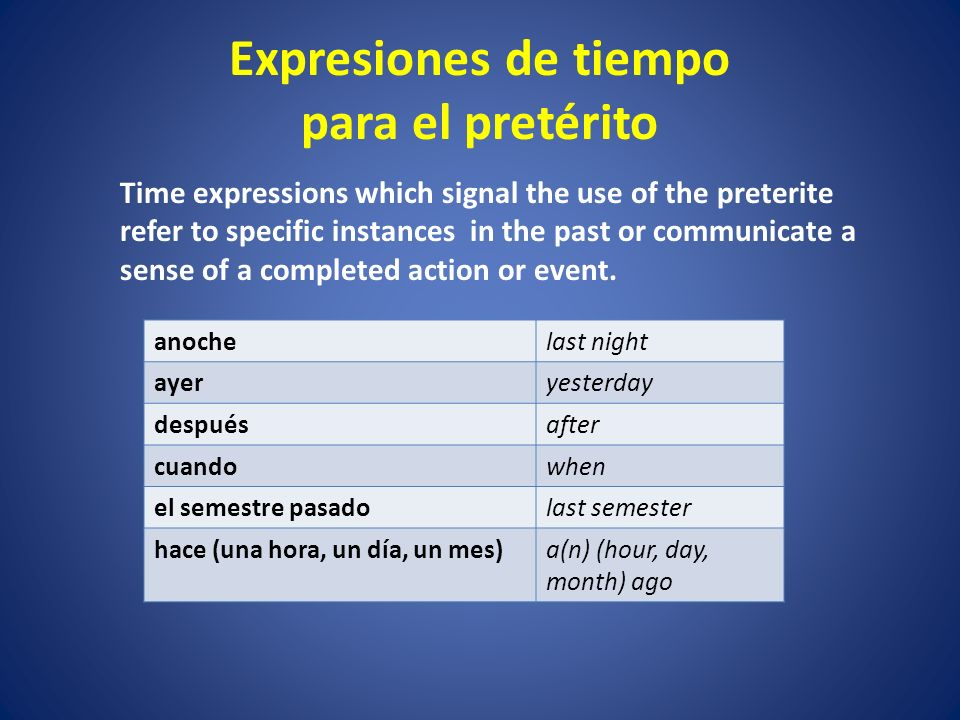 Expresiones de tiempo para el pretérito Time expressions which signal the use of the preterite refer to specific instances in the past or communicate a sense of a completed action or event.